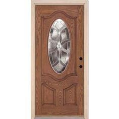 Feather River Doors Eclipse Zinc 3/4 Oval Lite Stained Medium Oak Fiberglass Entry Door-7E2490 at The Home Depot