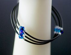 Crystal memory wire bracelet with neoprene by ABeadInTimeJewelry