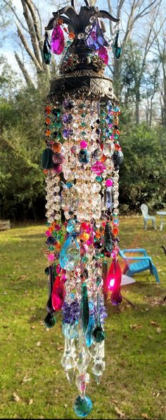 On Hold  Antique Bohemian Crystal Wind Chime by sheriscrystals
