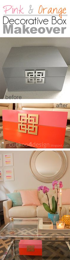 Pink, Orange & Gold Decorative Box Makeover