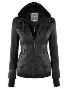 Jersey Hood Zip Up PU Jacket