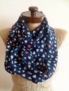 Love infinity scarf, heart girlfriend gift, heart print infinity scarf, for her, infinity scarf, hearts print, blue scarf tiny hearts gifts,