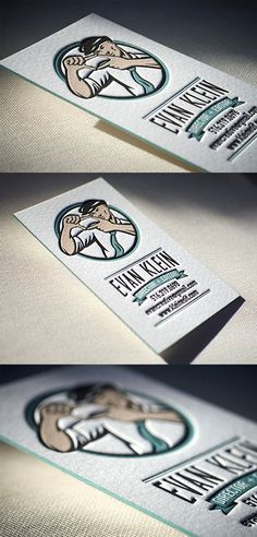 Vintage  Styled Edge Painted Letterpress Business Card Design
