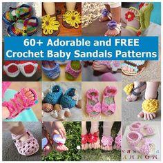 60+ Adorable and FREE Crochet Baby Sandals Patterns // Sandalias para bebés con crochet