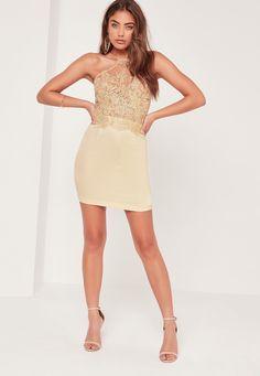 organza lace bodycon dress gold