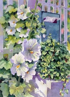 Ann Mortimer ~ hibiscus and ivy watercolor art