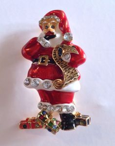 Christopher Radko Christmas Santa Brooch Pendant Rhinestone Enamel
