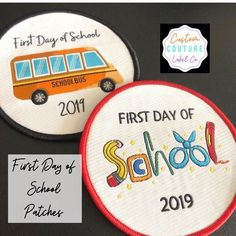 Checkout our ready to ship First Day of School Iron On Patches! 🚌📚✏️😄Available at our Etsy store! Scout Badges, Custom Patches, Morale Patch, Clothing Labels, School Gifts, First Day Of School, Apparel Design, Iron On Patches, School Supplies