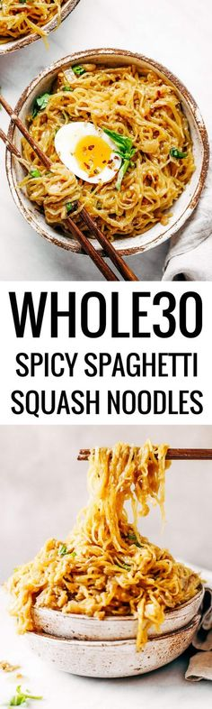 Spicy spaghetti squash noodles with creamy-flavor-packed-coconut-cream sauce! Whole30, paleo, and made in just minutes! An easy healthy family recipe everyone will love. Perfect for meal prep; can be made ahead and frozen- pulled out at your convenience! Easy whole30 dinner recipes. Whole30 recipes. Whole30 lunch. Whole30 recipes just for you. Whole30 meal planning. Whole30 meal prep. Healthy paleo meals. Healthy Whole30 recipes. Easy Whole30 recipes