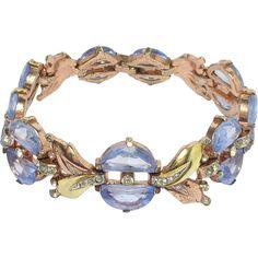 Early Beautiful Trifari Blue Crescents Bracelet