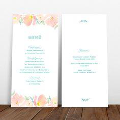 Boho Blooms Menükarte #weddingmenu #hochzeitseinladung #boho #bloom #watercolor #aquarell #menucard #menükarte #hochzeitspapeterie #dayof #tagespapeterie #hochzeitsdeko