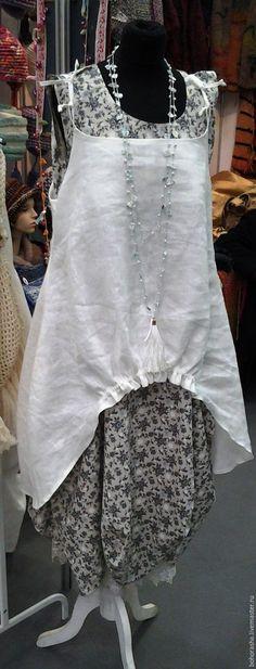 Купить Комплект в Бохо стиле сарафан туника - белый, в цветочек, в горошек, лён, хлопок, шебби