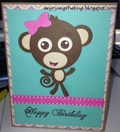 Girl Monkey Card made using Miss Kate Cuttables freebie of the day 6/21/13