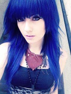 `indigo blue violet hair.