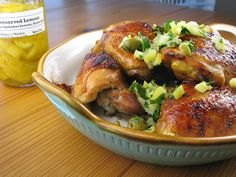 Sticky Chicken Thighs with Preserved Lemons & Honey