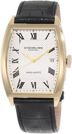 Stuhrling Original Men's 241.33352 Classic Madison Park Avenue Swiss Quartz Gold Tone Case Black Leather Strap Watch Stuhrling Original. $98.00. Water-resistant to 165 feet (50 M). Tonneaus shaped 316L surgical grade stainless steel case, hydraulically pressed dial with pyramid pattern in center. Classic three hand movement with quick-set date complication. Precise Swiss-quartz movement. Alligator embossed genuine French leather strap (22mm Wide at lugs). Save 63%!