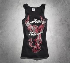 Our Tattoo Inspired Tank features the phoenix, a mythical bird that rises from the ashes strong and renewed. The bright graphics and rhinestone sparkle add more appeal to this feminine summertime tank. Mix and match with our phoenix women's jewelry. Harley Davidson Online Store, Harley Davidson Gear, Harley Gear, Harley Shirts, Motorcycle Outfit, Motorcycle Clothes, Lady Biker, Biker Style, Mythical Bird