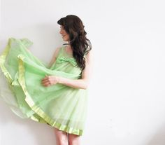 sheer mod nightgown . 1960 BOW dress . lime green by DOTTO on Etsy, $52.00