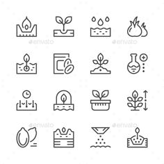 Set Line #Icons of Seed and Seedling - Man-made objects #Objects Download here: https://graphicriver.net/item/set-line-icons-of-seed-and-seedling/19736415?ref=alena994