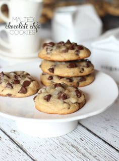 Soft Malted Chocolate Chip Cookies - Cookies and Cups