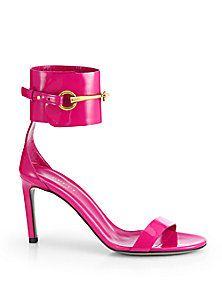 Gucci - Ursula Patent Leather Horsebit Sandals