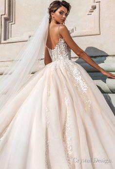 crystal design 2018 spaghetti strap sweetheart neckline heavily embellished bodice romantic ivory ball gown wedding dress chapel train (carol) zbv -- Crystal Design 2018 Wedding Dresses