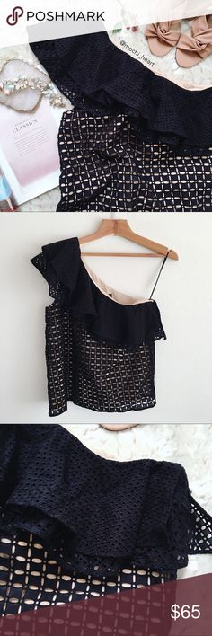 J. Crew Black Eyelet One-Shoulder Ruffle Top Flattering one-shoulder top with feminine eyelet detail. Well made and can be dressed up or paired with jeans for a casual chic look. Size 0 runs large and fits like a small. New condition. J. Crew Tops Blouses