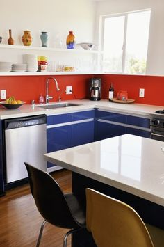 Blue cabinet doors from Ikea