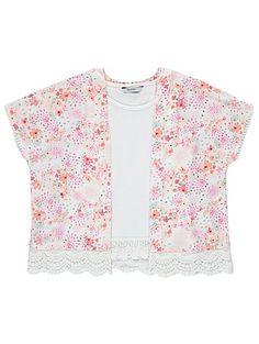 Floral Kimono and Vest Top Set