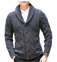YUNY Men's Casual Slim Thick Knitted Shawl Collar Cardigan Sweaters Pockets Mens Shawl Collar Cardigan, Sweater Cardigan, Men Sweater, Slim Thick, Knitted Shawls, Cable Knit, Men Casual, Womens Fashion, Clothes
