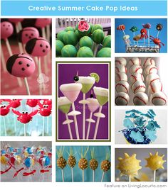 10 Creative Cake Pops for a Summer Party! Cute birthday or pool party desserts. From beach balls and sharks to lady bugs and crabs. 10 cute fun food ideas for cake pops! Party Desserts, Party Cakes, Baking Desserts, Party Favors, Creative Cakes, Creative Food, Cake Pops, Summer Cakes, Marshmallow Pops