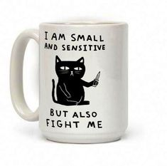 Show off your cute and sassy side with this adorable but fierce, cat with a knife coffee mug! Don't be ashamed of being little and sensitive! Be yourself but also it's a tough world out there so be ready to fight at all times. Coffee Facts, Coffee Mug Quotes, Cat Coffee Mug, Funny Coffee Mugs, Coffee Humor, Funny Mugs, Coffee Cafe, Egg Coffee, Ninja Coffee