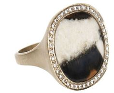 Monique Péan This Ring is indeed precious and few as it is designed with a Blue Walrus ivory, accented with White Diamonds. The band is made of 18k recycled White Gold.