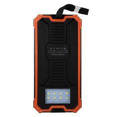 Swizze Portable Waterproof External Battery Power Bank Solar Charger Dual USB Power Bank For Phone (Orange) Solar Charger, Portable Charger, Gadget World, Gadgets, Usb, Orange, Phone, Appliances, Telephone