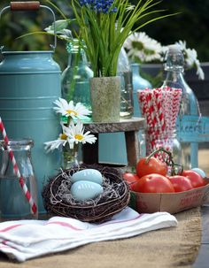 wedding table décor with handmade nest by dearjes  country chic barn wedding aqua and red
