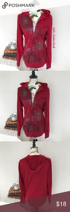 ✨BOGO✨ Maurices-Red Graphic Hoodie 🍄Brand: Maurices🍄 Color(s): red with black, gray, and bling graphic Size: 0X Stretch: yes Fabric Content: see pic Measurements: see pic Condition: gently used condition  Note(s): there is some light pilling, but there are no holes or stains. Very comfy hoodie!  📦Bundle your likes, and I will send you a no obligation offer. Or, submit a reasonable offer!📦(G) Maurices Tops Sweatshirts & Hoodies