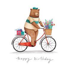Bear on a bike - Happy Birthday Card  #greetingcards #printable #diy #birthday