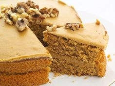 This coffee cake recipe has a light flavor coffee flavor and the brown sugar icing is a perfect compliment. Coffee Cake Recipe from Grandmothers Kitchen. Black Walnut Cake, Coffee And Walnut Cake, Coffee Cake, Bulgarian Desserts, Bulgarian Recipes, Bulgarian Food, Other Recipes, Sweet Recipes, Cake Recipes