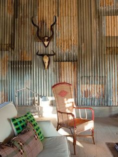 Weathered Rustic-Industrial Metal Walls   via Elle Decor Spain   House & Home