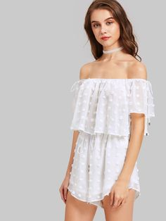 b71f9bc8591 Shop Dot Jacquard Two Layer Self Tie Bardot Playsuit online. SheIn offers  Dot Jacquard Two. Off Shoulder RomperShoulder ...