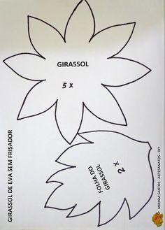 Resultado de imagen de patrones de girasoles de goma eva