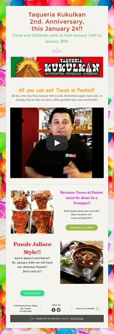 Taqueria Kukulkan Anniversary, this January Come and Celebrate with us from January to January Pozole, 2nd Anniversary, All You Can, January, How To Apply, Events, Eat, Celebrities, Al Pastor