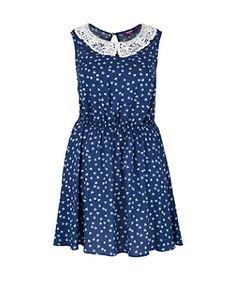 Blue Pattern (Blue) Inspire Blue Heart Print Crochet Dress | 267318949 | New Look