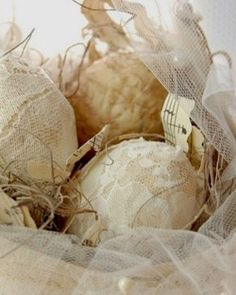 Lace and embroidered eggs.