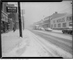 Check out this picture from the City of Toronto archives.it's King and John, where the Princess of Wales sits today in the midst of a good old fashioned snow storm in Toronto Snow, Toronto Ontario Canada, Life In The 1950s, Vintage Photographs, Old Pictures, Snow Storms, World, City, Outdoor