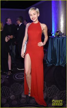 Miley Cyrus wearing Alexandre Vauthier at Clive Davis' Pre-Grammys Party 2015