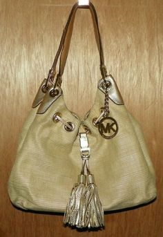 Michael Kors Grommet Hobo Handbag Gold Fabric Leather Trim Tassels Hardware   MichaelKors bfd4a45c8f7d6