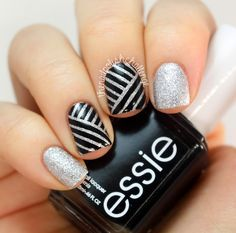 New Year's Striping Tape Nail Art