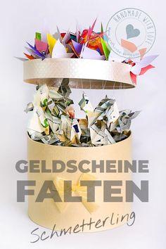 Geldscheine falten ist gar keine schlechte Idee - und mit diesen hübschen Schmetterlingen geht es sogar ganz einfach #Geldscheine #falten #Schmetterling #Geldgeschenk Container, Packing, Children, Fun, Inspiration, Hand Made Gifts, Wrapping Gifts, Diy Presents, Bag Packaging
