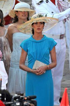 #Prince Albert and Charlene Wittstock Wedding - Like the dress Princess Caroline is wearing.